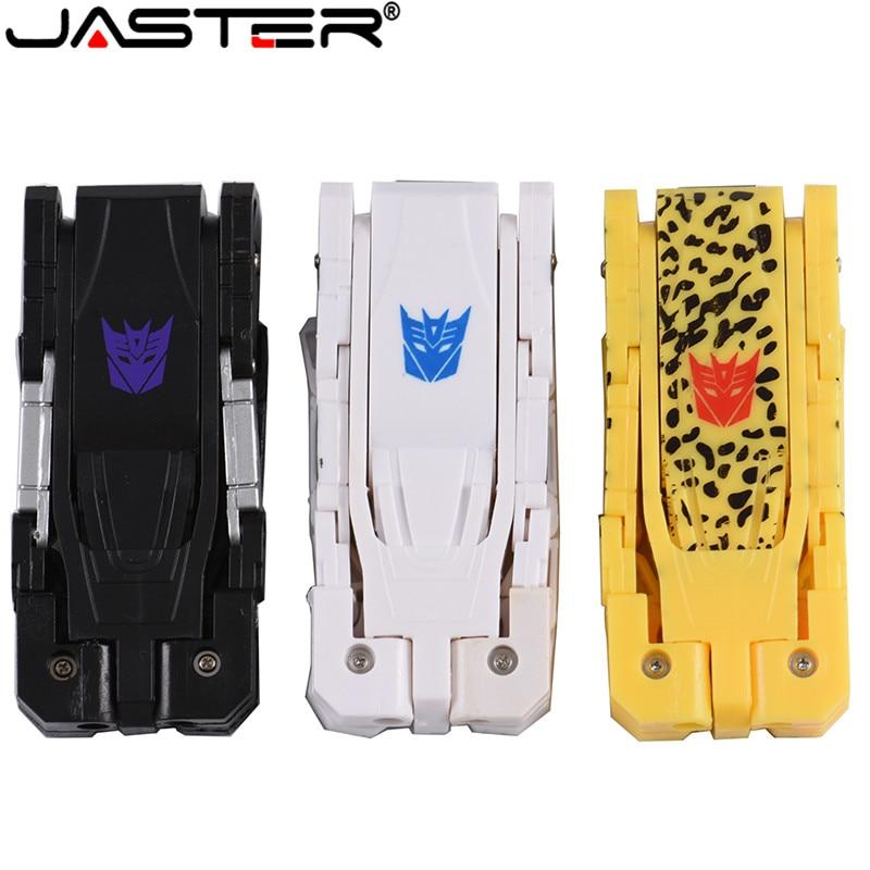 JASTER Plastic Toy Style U Disk Cartoon Character Usb Flash Drive Transfomer Pendrive 4GB 8G 16GB 32GB 64GB Transformation Robot