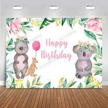 Safari Koala Theme Child Birthday Backdrop Baby Shower Party Decoration Woodland Animal Background Photography Props Banner