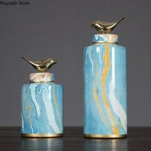 Modern Ink Pattern Bird Decoration Jar Vase Creative Ceramic Storage Jar with Lid Decoration Living Room Decoration Accessories