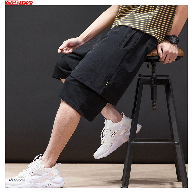 Dropshipping 2020 Men Summer Cargo Shorts Men Korean Casual Japan Style Pants Male Oversized Fake Two Pieces Clothes Shorts New