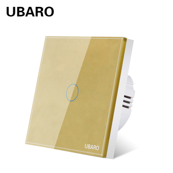 UBARO EU AC 220V Luxury Crystal Glass Panel Touch Switch Electric Power Light Wall Led Interruptor On Off Screen Sensor Switches 3pcs lot 1 3 way home light on off touch sensor switch touch control sensor dimmer for bulbs lamp light switches ac 110v 220v