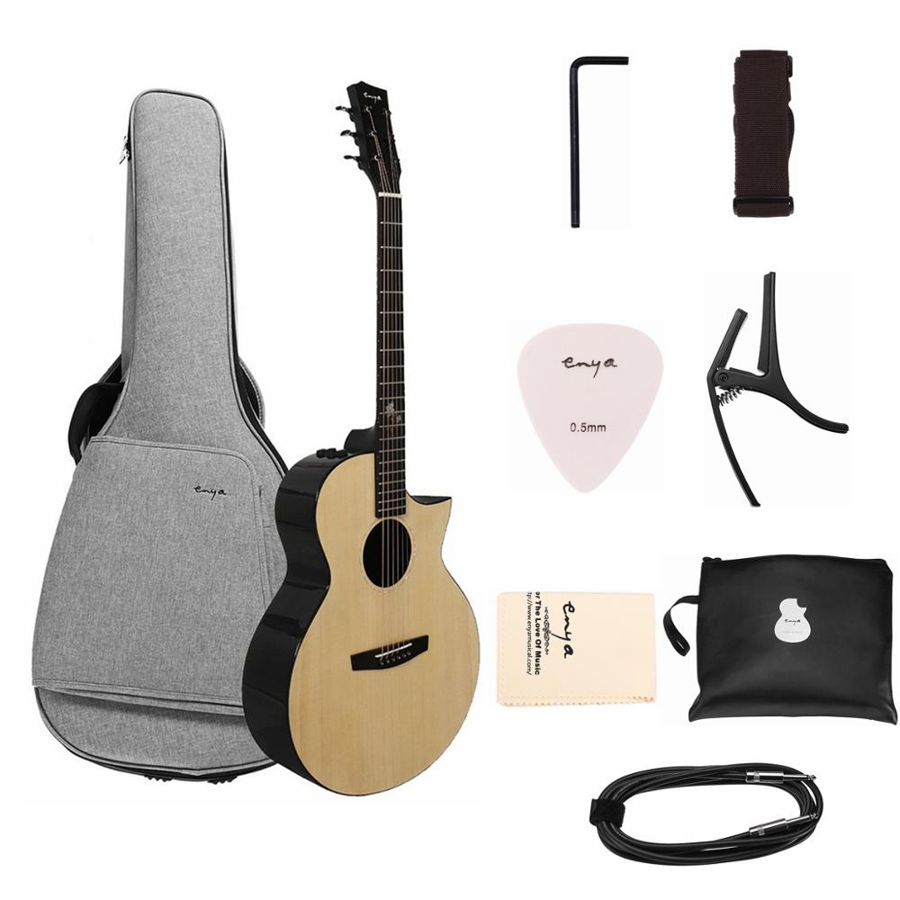 Enya EA-X2C Pro 41 Inch Pro Spruce Veneer Sharp-Angle Acoustic Guitar with Guitar Bag