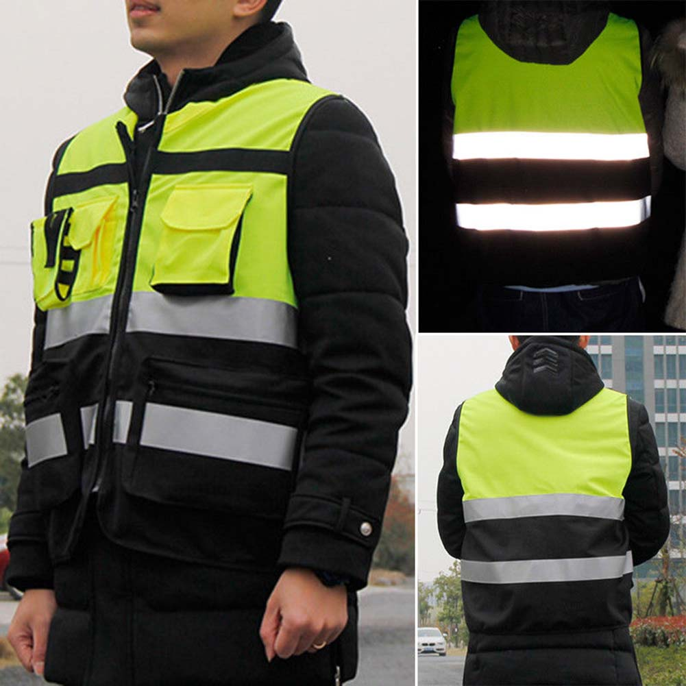 Safety Vest Reflective Driving Jacket Night Security Waistcoat With Pockets B88