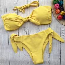 2021 New Arrival 6 Colours Solid Bow-knot Bikinis Strapless Low Waist Bandage Sexy Swimsuit Swimwear