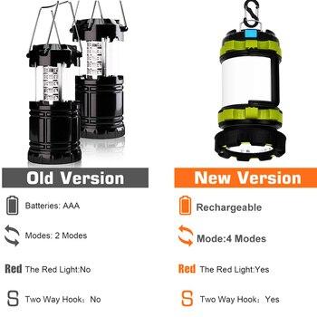 Dropshipping Portable LED Camping Lantern Work Light Outdoor Tent Light Handheld Flashlight USB Rechargeable Port Spotlight 2
