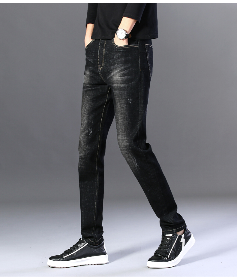 2020 Autumn New Men's Classic Blue Black Slim-fit Jeans Business Cotton Elastic Regular Fit Denim Pants Male Brand Trousers