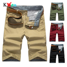 Male Breathable shorts clothing Knee Length Shorts for Men New Man's Casual Shorts Pocket Cargo Shorts Men Plus Size 40 Solid