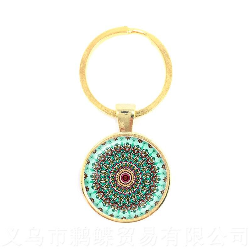 Om Keychains Glass Cabochon Mandala Key Ring Buddhism Glass Dome Hindu Jewelry Yoga Key Holder Sri Lanka Gift