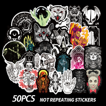 50PCS Gothic Demon Black And White Punk Style Sticker For Laptop Skateboard Bicycle Decal Pegatinas Toy Stickers F4 - discount item  40% OFF Classic Toys