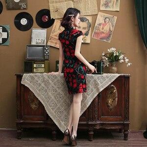 Image 2 - שחור אדום זמיר סיני Cheongsam שמלת למתוח כותנה ופשתן בתוספת גודל צ יפאל 5XL 4XL סקסי מסורתית בציר Qipao