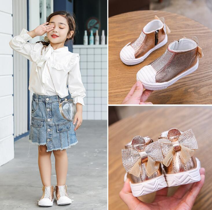 New Autumn Kids Girls Shoes Fashion Bow Rhinestone Ankle Boots Children's Casual Shoes Soft Toddler Baby Shoes Side Zipper