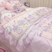 4pcs/set Lovely Girls Bed Cover Set Duvet Cover Adult Child Bed Sheets And Pillowcases Comforter Bedding Set