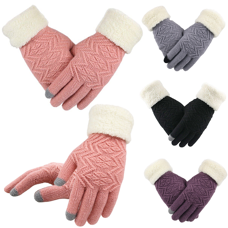 Fashion Women1 Pair Full Knitting Winter Finger Gloves Elegant  Fashion Fleece Warm Touch  Screen Knit Gloves