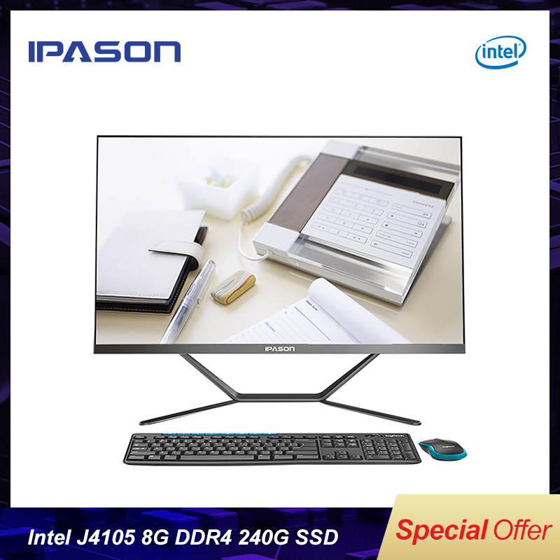 All-in-one Gaming PC IPASON P21 21.5inch Intel Quad Core 8G DDR4 RAM 240G SSD WIFI Bluetooth Narrow Border Black Mini PC