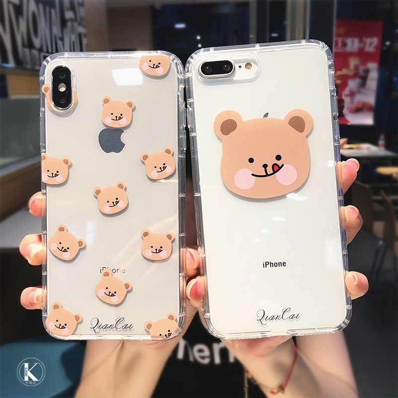 Cute Cartoon animal Bear Transparent Phone Case For iPhone 11 Pro Max X XS XR 6s 7 8 plus Clear Soft TPU Shockproof Cover Back