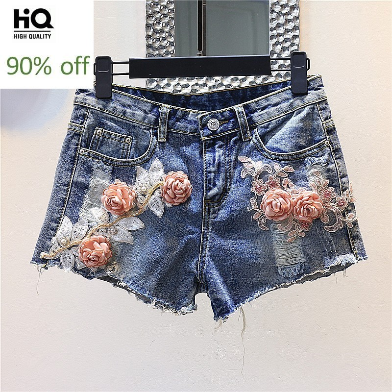2020 Summer New Hole Ripped Short Jeans Women Korean Style Embroidery Flower Sequined Wide Led Jeans Short Vintage Short Mujer