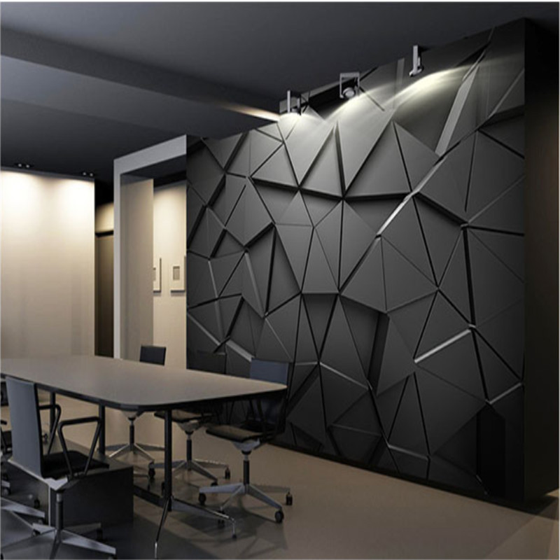 Modern Luxury 3d Stereoscopic Black Geometric Triangle Mural Wallpapers For Living Room Office Industrial Decor Wall Paper 3d Wallpapers Aliexpress