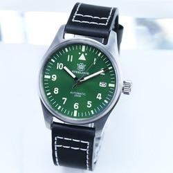 1940 Re-engraved Mark 9 Pilot Watch NH35 Automatic Mechanical Watch Auto Date Calendar Stainless Steel 20Bar Dive Watch Men