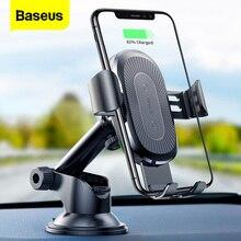 Baseus Qi kablosuz şarj araba tutucu iPhone X 8 Samsung S9 emme kablosuz şarj hızlı şarj araba montaj telefon tutucu