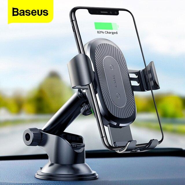 Baseusチーワイヤレス充電器iphone × 8サムスンS9吸引ワイヤレス充電急速充電器カーマウント電話ホルダー