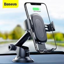 Baseus qi carregador sem fio suporte do carro para o iphone x 8 samsung s9 sucção de carregamento sem fio carregador rápido carro montar telefone titular