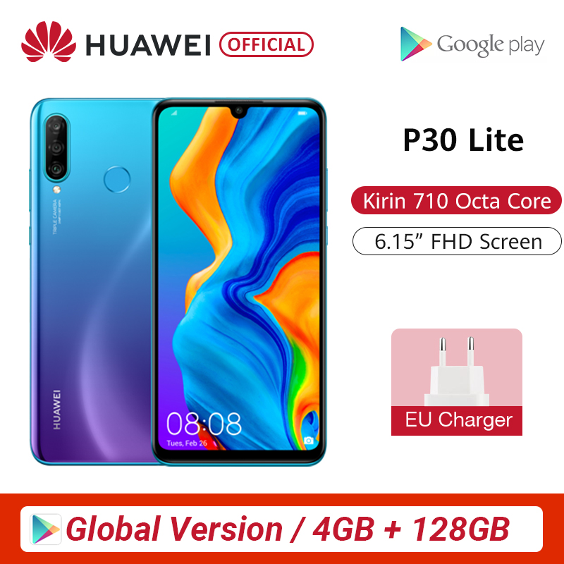 Global Version Huawei P30 Lite 4GB 128GB Smartphone 6.15 inch Kirin 710 Octa Core Mobile Phone EMUI Android 9.0 CellPhone