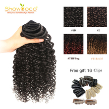 Hair-Weaves Human-Hair-Bundle Clips Curly Machine-Made Remy Showcoco with for DIY 4-Colors