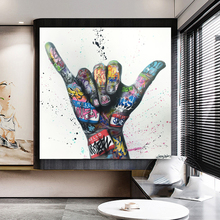 Victory Gesture Oil Painting Graffiti Art Canvas Painting Inspirational Posters Print Wall Art Living Room Decoration No Frame