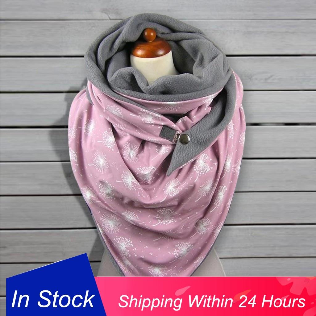 Dot Printing Button Soft Scarf Shawls Fashion Women Soild Wrap Casual Warm Scarves Shawls Echarpe Hiver Femme Chaqueta Pelo