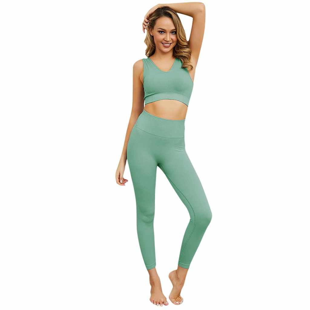 Seamless workout Yoga Suit sport leggings and top Yoga Set outfits for women sportswear Athletic Solid Clothes Gym Sets 2 piece
