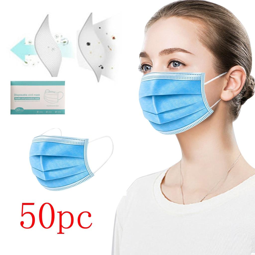 Facemask Scarf Mascarilla 2020Top Maska 50/100PC Disposable Face Mask Denta Industrial 3Ply Ear Loop Masque Mascherine Máscara