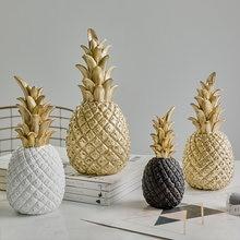 Nórdico moderno decoração de casa ouro & branco abacaxi criativo vinho gabinete janela display desktop adereços decoração para casa acessórios