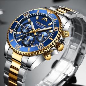 Image 3 - MEGALITH Роскошные мужские часы, спортивные часы с хронографом, водонепроницаемые аналоговые кварцевые часы с датой 24 часа, мужские полностью Стальные наручные часы