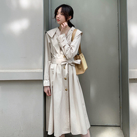 New Fashion Spring Autumn Women Simple trench coat Lapel Long Sleeve Belt Casual Loose Designer Windbreaker Streetwear