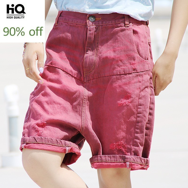 Japan Style Summer Washed Holed Retro Shorts Women Loose Fit Vintage Denim Shorts Sweet Torn Zipper Jeans For Girl Free Size