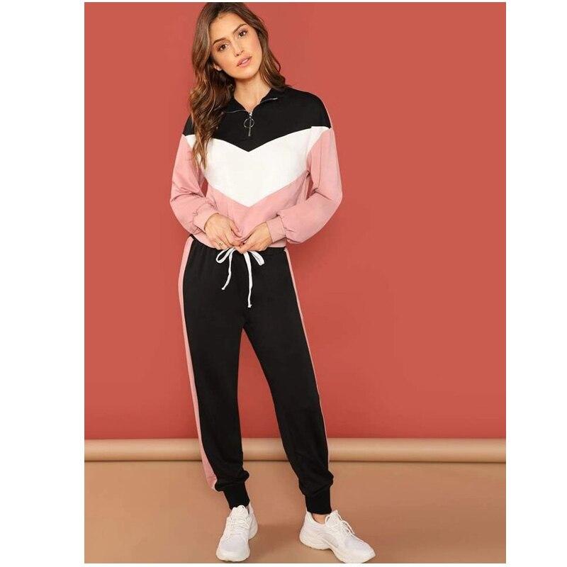 Plus Size 2 Piece Set Women Black Pink Outfit V Neck Hoodies Sweatshirt Pants Tracksuit Streetwear Casual Suit
