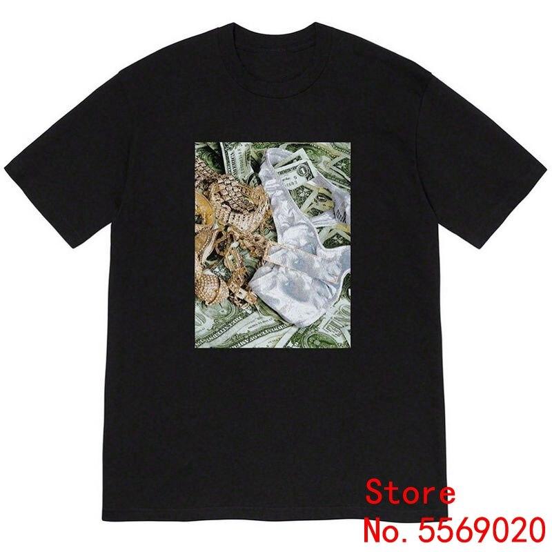 Sureme 20ss Dollar Briefs Printed Short Sleeve Cotton T Shirts Bogo Bling Tees Men Women Couples T-Shirt Men