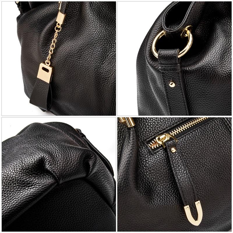 Bureau dames sacs à main Qiwang véritable sac à bandoulière en cuir véritable marque de luxe noir sac à main pour femmes casual fourre tout grande capacité - 3
