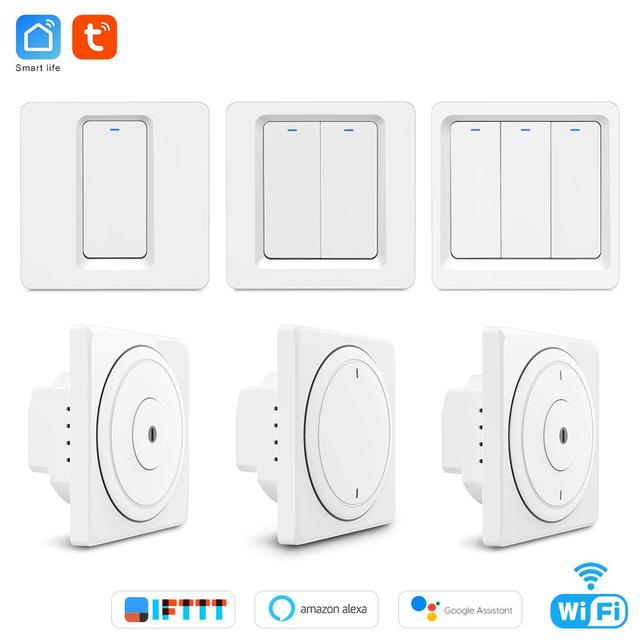 Tuya wifi remote control light switch EU Wall button smart switchs Support Alexa, Google Home, Voice Control switch