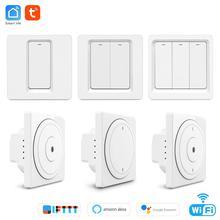 Tuya wifi Пульт дистанционного управления выключатель света ЕС настенная кнопка smart switchs поддержка Alexa, Google Home, переключатель голосового управления