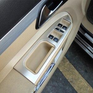 Image 2 - Para touran 2005 11 12 13 14 2015 acessórios do carro de aço inoxidável braço janela interruptor elevador de vidro capa guarnição estilo do carro 5 pçs