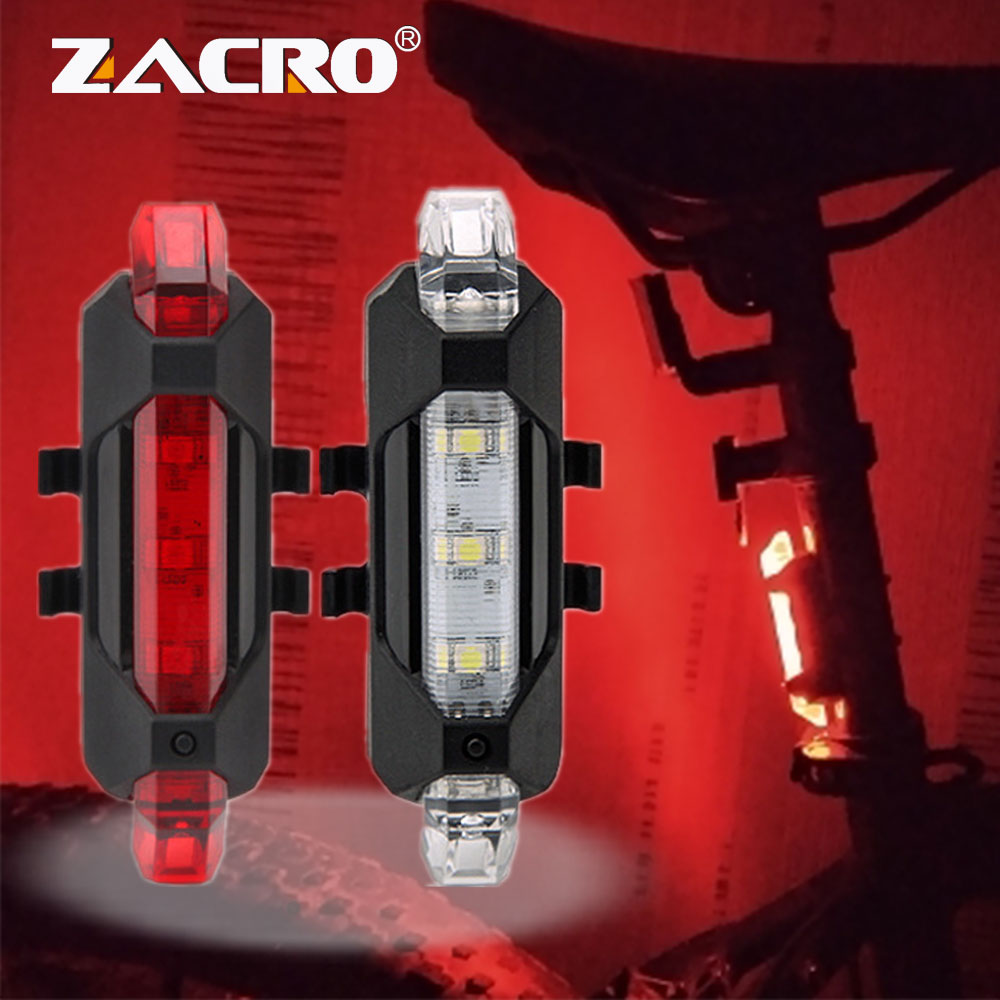 Zacro 2Pcs Bicycle Cycling Lights 3 Modes Led Bike Safety Warning Portable Light USB Rechargeable 1 Combo Rear Taillight