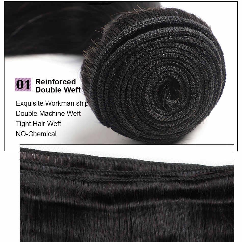 Alimice Braziliaanse Steil Haar Bundels 8- 30 Inch Haar Weave Bundels 100% Human Hair Bundels Niet-Remy Haar weave 1/3/4 Stuks