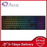 (30€-4€ code :EDSES4 ) AKKO 3108 de 108 llaves USB tipo-C juegos por cable RGB teclado 85% teclas PBT AKKO Rosa interruptor para AKKO Teclado mecánico