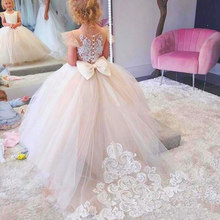 Lace Sleeveless Rrain Leng Flower Girls Princess Dress Kids Party Pageant Wedding Bridesmaid Tutu Ball Gown Bow White Dresses