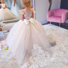 Pizzo senza maniche Rrain Leng Flower Girls Princess Dress Kids Party Pageant Wedding damigella d'onore Tutu Ball Gown Bow abiti bianchi