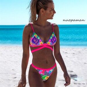 Bikinis con Tanga Floral de 2020, traje de baño estampado para mujer, traje de baño femenino, juego de Bikini estilo Push Up, traje de baño para playa Mini brasileño