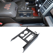 for Ford F150 F-150 2015-2021 Gear Shift Water Cup Holder Decoration Cover Trim Sticker Car Interior Accessory ABS Carbon Fiber