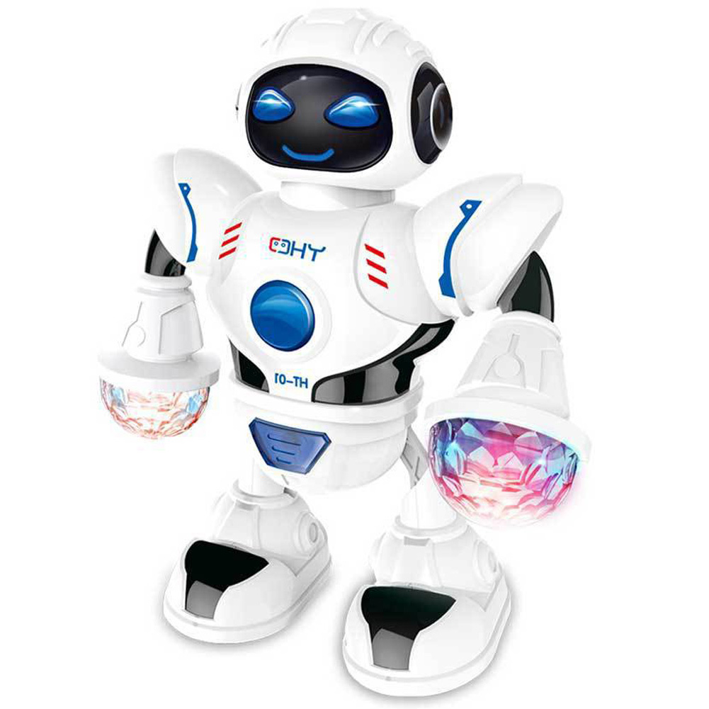 LED Flashing With Music Moving Kids Gift Smart Electronic Space Battery Operated Dancing Robot Walking Toys Funny Birthday Light
