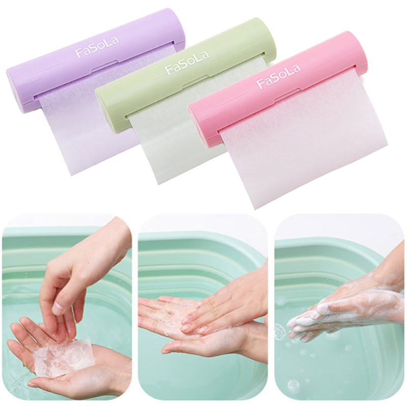 FaSoLa Portable Paper Soap Outdoor Hand Washing Bath Scented Slice Sheets Foaming Box Paper Camping Hiking Soap Refill 120cm